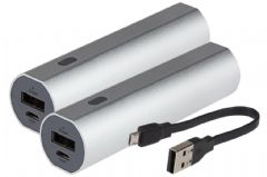 Maplin Portable Power Bank 2600mAh Aluminium Casing & Charge Indicator x 2 - Silver